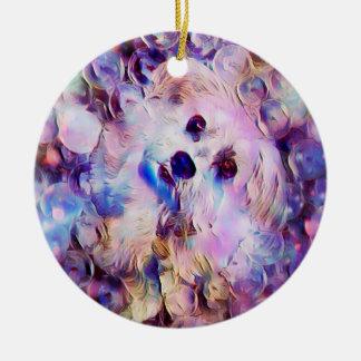 Morkie Welpen-Hund sprudelt niedliche lila Keramik Ornament