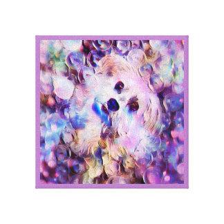 Morkie Welpen-Hundeblasen-niedlicher lila Leinwanddruck