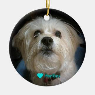 Morkie Welpen-HundeLiebe-niedliche Keramik Ornament