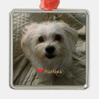 Morkie Welpen-HundeLiebe-niedliche Silbernes Ornament