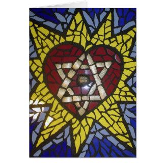 Mosaik-glühender Herz-Davidsstern Auf Blau Grußkarte