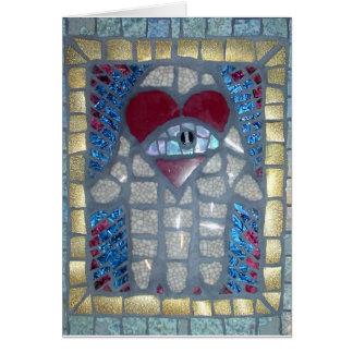 Mosaik Hamsa W/Heart und böser Blick Grußkarte