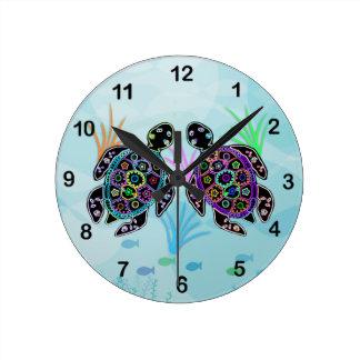 Mosaik-Meeresschildkröte-Uhr Runde Wanduhr