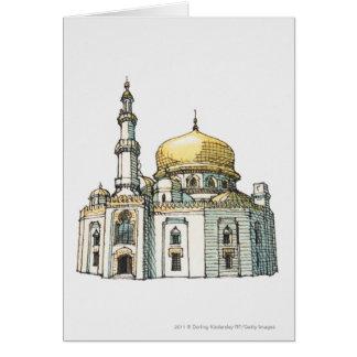 Moschee mit Goldzwiebelhaube und -minarett Karte