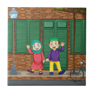 Moslemische Paare auf der Straße Keramikfliese