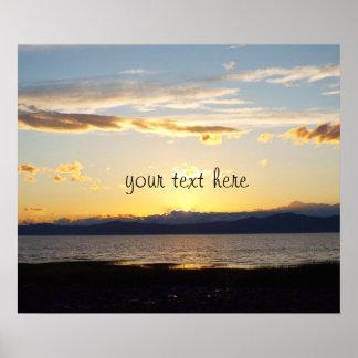 Motivierend Zitat und schöner Sonnenuntergang Poster