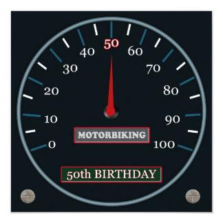 Motorbiking 50. Geburtstags-Einladung Quadratische 13,3 Cm Einladungskarte