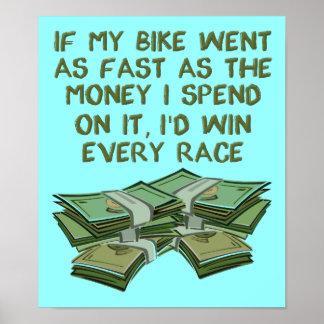 Motorrad, das lustiges Plakat-Zeichen läuft Poster