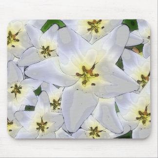 Mousepad elegantes Blumenmuster grau-weiß Lilien
