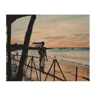Mozambican Sonnenuntergang - Druck auf Holz Holzleinwand