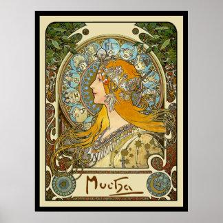 Mucha Kunst Nouveau Plakat - Tierkreis - La-Feder