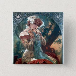 Mucha rotes Kleid der Lefevre-Utile Quadratischer Button 5,1 Cm