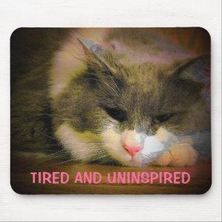 Müde und nicht inspirierte traurige Katze Mousepads