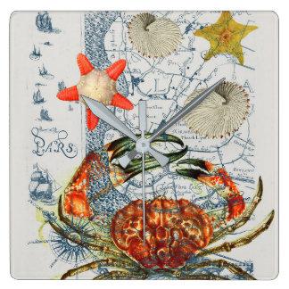 mürrische Karte Starfish Quadratische Wanduhr