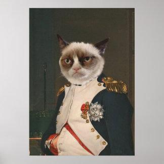 Mürrische Katzen-klassische Malerei Poster