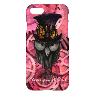 Mürrische Steampunk Eule auf rosa Gängen iPhone 8/7 Hülle