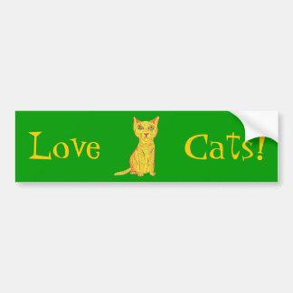 Mürrische und verwirrte gelbe Katze, naive Art Autoaufkleber