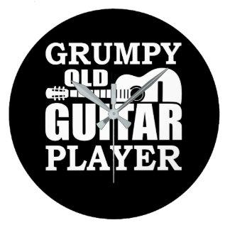 Mürrischer alter Gitarrist-Gitarrist Große Wanduhr