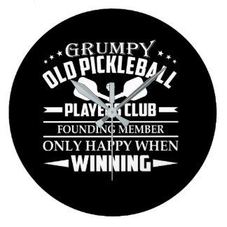 Mürrischer alter Pickleball Spieler-Verein Große Wanduhr
