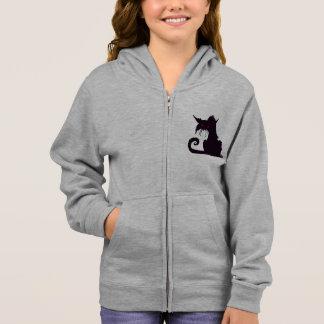 Mürrischer schwarze Katzen-MädchenHoodie Hoodie