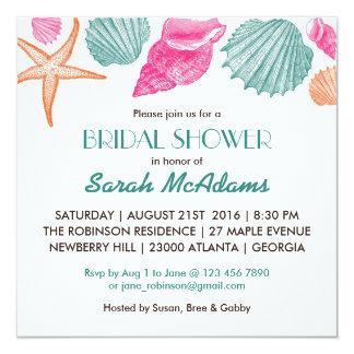 Muscheln-Strand-Thema-Brautparty-Einladung Quadratische 13,3 Cm Einladungskarte