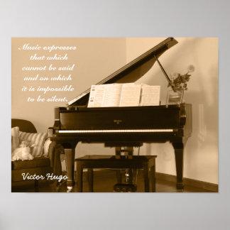 Musik drückt aus -- Victor- Hugozitat - Kunstdruck Poster
