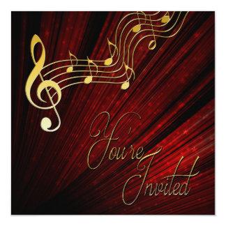 Musik-Einladung - Rot - Goldanmerkungen - nobel Quadratische 13,3 Cm Einladungskarte