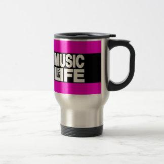 Musik ist mein Leben-Rosa Reisebecher