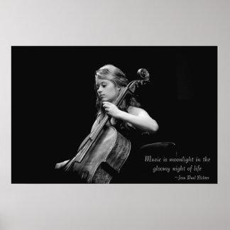 Musik ist Mondschein-feine Kunst-Plakat/Leinwand/D Poster