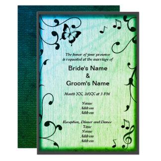 Musik, Schmetterling, Blätter, grüne Hochzeit lädt 12,7 X 17,8 Cm Einladungskarte