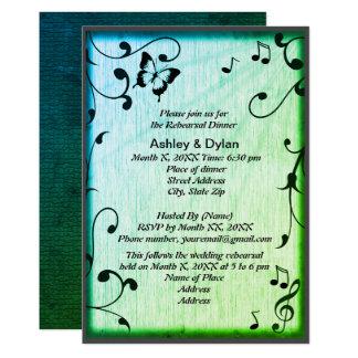 Musik, Schmetterling, Blätter, grünes 12,7 X 17,8 Cm Einladungskarte