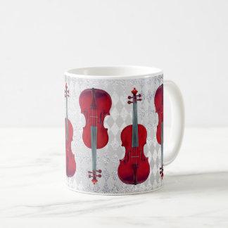 Musik-Tassen-Violinen-silbernes Grau-funkelnd Tasse
