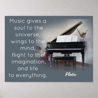 Musik-Zitat - Plato - Kunst-Druck Poster