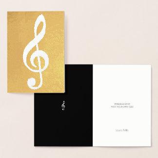 musikalische Anmerkung/dreifacher Clef auf Gold Folienkarte