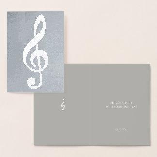musikalische Anmerkung/dreifacher Clef auf Silber Folienkarte