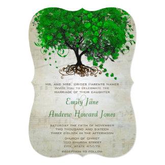 Musikalische Smaragdherz-Blatt-Baum-Hochzeit lädt Karte