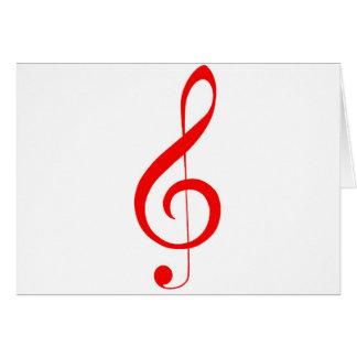 """Musikalischer """"Anmerkungen"""" _Red dreifacher Clef Karte"""