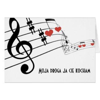 Musikalisches Personal mit Anmerkungen und Herzen Karte