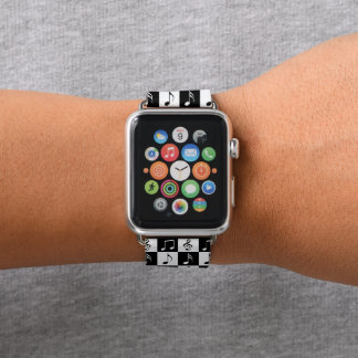 Musikalisches Schwarzweiss-Schachbrett Apple Watch Armband