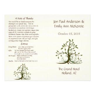 Musikalisches Whispy Baum-Hochzeits-Programm Flyer