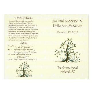 Musikalisches wunderliches Baum-Hochzeits-Programm Flyer