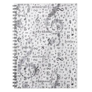 Musikanmerkung Muster-Musik-Thema-Notizbuch Spiral Notizbuch