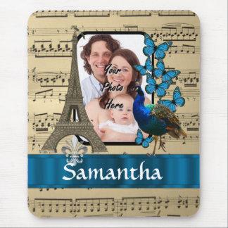 Musikblatt und romantisches hübsches Paris Mauspads