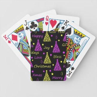 Muster des neuen Jahres - gelb und lila Spielkarten