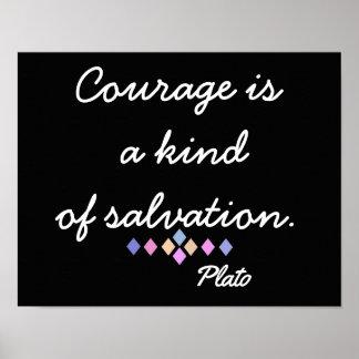 Mut und Rettung - Plato-Zitat - Kunst-Druck Poster