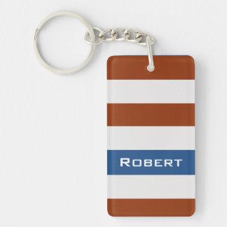 Mutige Brown-Streifen mit individuellem Namen Schlüsselanhänger
