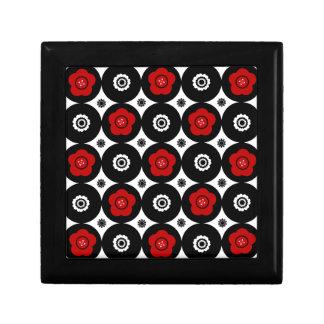 Mutige rote und schwarze Trendy Mod-Kreise Kleine Quadratische Schatulle