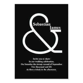Mutige Schwarzweiss-Hochzeit 12,7 X 17,8 Cm Einladungskarte