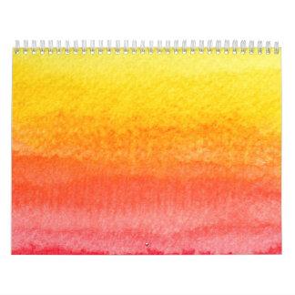 Mutiges Leuchtorange-Gelb Ombre Aquarell Kalender