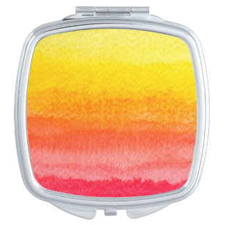Mutiges Leuchtorange-Gelb Ombre Aquarell Schminkspiegel